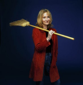 As punishment for being good, Rowling must forever pose with a broom in any picture taken of her.